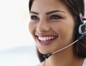 close-up of a businesswoman wearing a headset